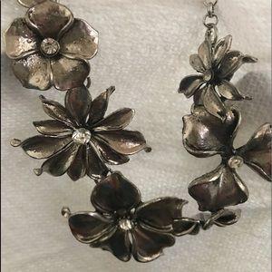 Silvertone Floral Necklace